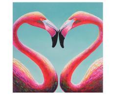 Ölgemälde Flamingo, 100% handgemaltes Wandbild Gemälde XL, 90x90cm ~ Variantenangebot