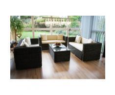 Luxus Poly-Rattan Sofa-Garnitur RomV, 2+2+2 ~ Variantenangebot