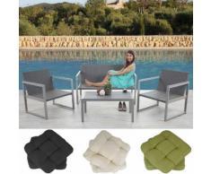 2-1-1 Alu-Garten-Garnitur Split, Sitzgruppe Lounge-Set, Poly-Rattan ~ Variantenangebot