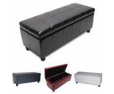 Aufbewahrungs-Truhe Sitzbank Kriens, LEDER, 112x45x45cm ~ Variantenangebot