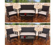 2-1-1 Poly-Rattan Garten-Garnitur Cartagena, Sitzgruppe ~ Variantenangebot