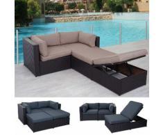 Poly-Rattan-Garnitur Adana, Gartengarnitur Sitzgruppe Lounge-Set, Alu ~ Variantenangebot