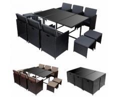 Poly-Rattan Garten-Garnitur Kreta, Lounge-Set Sitzgruppe 10 Sitzplätze ~ Variantenangebot