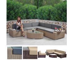Poly-Rattan-Garnitur Sora, Gartengarnitur Sitzgruppe Lounge-Set, Alu ~ Variantenangebot