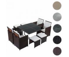 Poly-Rattan Garten-Garnitur Kreta, Lounge-Set Sitzgruppe ~ Variantenangebot