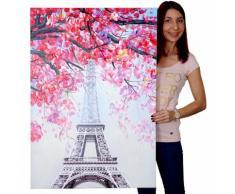 Ölgemälde Eiffelturm, 100% handgemaltes Wandbild Gemälde XL, 70x100cm ~ Variantenangebot