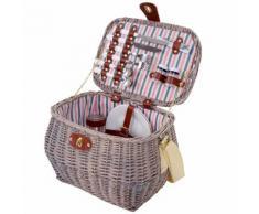 Picknickkorb-Set für 2 Personen, Picknicktasche Weiden-Korb, Porzellan Glas Edelstahl, weiß-rot ~ Variantenangebot