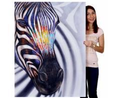 Ölgemälde Zebrakopf, 100% handgemaltes Wandbild Gemälde XL, 90x120cm ~ Variantenangebot