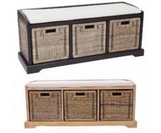 Sitzbank Bienne, Aufbewahrungsbox, 3 Körbe, Kubu-Rattan-Geflecht, 112x46x37cm ~ Variantenangebot