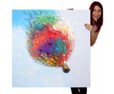 Ölgemälde Heißluftballon, 100% handgemaltes Wandbild Gemälde XL, 100x100cm ~ Variantenangebot