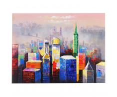 Ölgemälde Bunte Stadt, 100% handgemaltes Wandbild Gemälde XL, 120x90cm ~ Variantenangebot