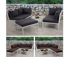 Poly-Rattan Sofa-Garnitur Delphi, Sitzgruppe Lounge-Set, Alu ~ Variantenangebot