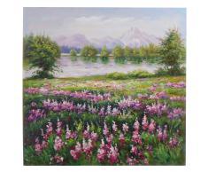 Ölgemälde Blumenwiese, 100% handgemaltes Wandbild Gemälde XL, 80x80cm ~ Variantenangebot