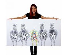 Ölgemälde Zebras II, 100% handgemaltes Wandbild Gemälde XL, 140x70cm ~ Variantenangebot