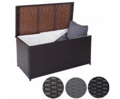 Poly-Rattan Kissenbox Barry, Truhe Auflagenbox Gartenbox, L schwarz ~ Variantenangebot