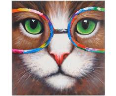 Ölgemälde Hipster Katze, 100% handgemaltes Wandbild 3D-Bild Gemälde XL, 90x90cm ~ Variantenangebot