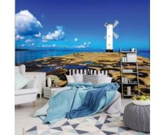 Fototapete - Windmühle auf Felsiger Küste - Selbstklebend - Textil - 20067_Txven