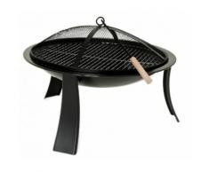 XXL Feuer-Schale schwarz Feuer-Korb mit Funkengitter Pflanz-Schale Terrassen-Ofen Garten-Kamin Feue