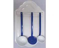 Retro Löffelgarnitur mit Löffelblech, Küchenhelfer Set, Emaille weiß- blau