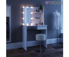 Schminktisch Weiß mit LED-Beleuchtung Kosmetiktisch Frisierkommode Frisiertisch Spiegel Make-Up