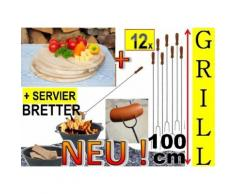 12x Grillspieße 100 cm im Grill-Set + 4x Holzbrett Platzteller, Schneidebrett D 25 cm, rund, Lagerfe