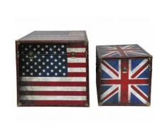 Truhe Us+Uk Flagge, 2er Set, Vintage Look