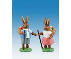 Osterhasen Hasenpaar mit Eierkorb Höhe ca 7,5 cm NEU