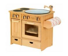 Massive Kombiküche / Kinderküche mit Herd + Spülbecken + Handtuchhalter / Material: Erle / Maß: 51 x