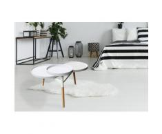 Tische Tabletttisch Handgefertigt MDF MIT Hochglanzbeschichtung Bambus Weiß