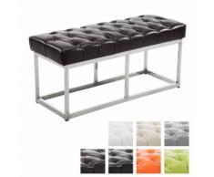 Design Edelstahl Sitzbank Amun mit Kunstleder-Bezug, Sitzhöhe ca. 45 cm, gepolstert und gesteppt