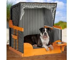 Hunde Katzen Strandkorb mit Wassernapf, anthrazit, grau-weiß, Hundekorb, Hundebett, von Lilimo ®