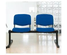 Traversenbank - ohne Tisch - 2 Sitze, Polster blau - Bank Besucherstuhl