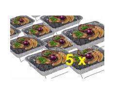 5 x Einweggrill als Campingkocher Klappgrill Faltgrill Camping Grill Grillroste Alu-Grill Einmalgril