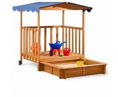 Sandkasten mit überdachter Spielveranda und UV 50 Schutz