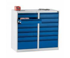 Quipo Schubladenschrank, Stahl - HxBxT 900 x 1000 x 500 mm, 14 Schubladen, Schubladenfarbe
