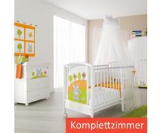 Pali Babybett Häschen im Wald Kinderbett 64x124 Buche massiv mit Lattenrost und Rollen