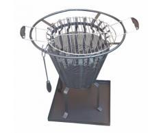Feuer- und Grillkorb mit Funkenschutzgitter und Bodenplatte Feuerkorb Kohlegrill