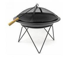 Feuer-Schale mit Grillrost schwarz 51cm Designer Pflanz-Schale Terrassen-Ofen Kamin Garten-Kamin Fe