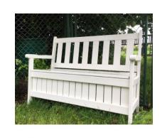 hochwertige stabile Kissenbox Bank aus Holz mit Truhe, cremefarben, B114 x T56 x H89 cm