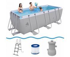 Jilong Swimming Pool Set Passaat Grey - Schwimmbad 400x200x99 cm, Stahlrahmen-Schwimmbecken mit Filt