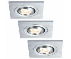 Einbauleuchten-Set Premium Line 3 W LED Alu geb., schwb., Eckig, 3x3W 450lm