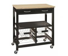 Küchenwagen 2 Schubladen schwarz 15005