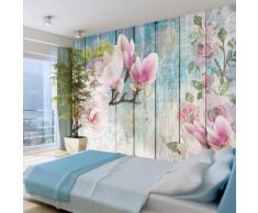 250x175 cm Fototapete Pink Flowers on Wood