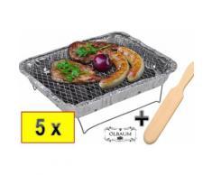 "5 x Camping-Grill Minigrill Einmalgrill, Einweggrill MIT 2,5 kg Holzkohle + 1 x Premium-Holzwende"""