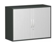 Querrollladenschrank, 100x42x77cm, Silber Graphit