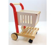 Einkaufswagen für den Kaufladen / Material: Hartholz / Farbe: holzfarbend, rot + weiß lackiert / Maß