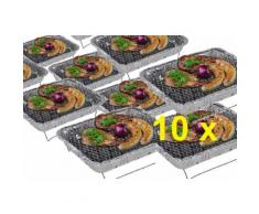 10 x Komplettset Einweggrill Edelstahl Grill Holzkohlegrill Klappgrill Gartengrill Picknickgrill MI