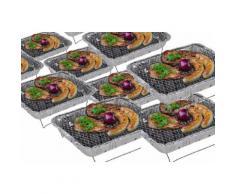 6 x Komplettset Einweggrill Edelstahl Grill Holzkohlegrill Klappgrill Gartengrill Picknickgrill MIT