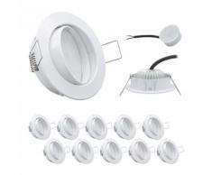 10 x LED Einbauleuchten Weiss 5W 3000K 230V Modul flache Einbautiefe 35mm