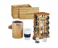 relaxdays 3er Set Küchenutensilien Bambus Brotkasten Brotbehälter Gewürzstreuer Kaffeedose